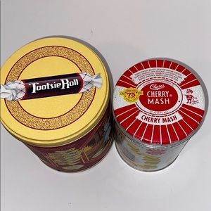 Vintage Tootsie Roll and Cherry Mash candy tins